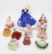A collection of Royal Doulton ladies including one figure Mary figure of the year and smaller