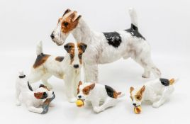 Collection of 1930's Royal Doulton fox terriers one dog with ball is AF