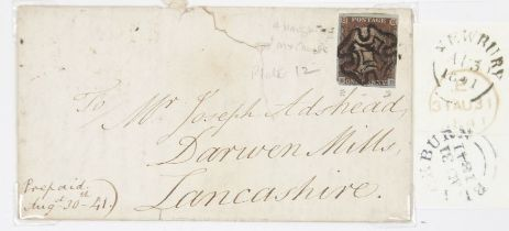 GB Aug 30 1841 entire bearing deeply blues 1d red Newbury to Blackburn, appropriate bag stamps