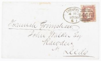 GB 1d stars on cover Liverpool (4 no 1856) to Leeds with full spoon cancel, Leed Receiver on