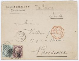Chile GB used in 1½d red and 1/= green on cover Valparasieo to Bordeaux DE 1478 Valparasieo