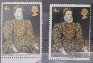 GB SG 7716 1968 paintings 4d missing vermilion UN/M with normal
