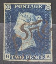 GB 1840 2d blue plate 1 4 margins, except just touched top right, cancelled with brown MX (