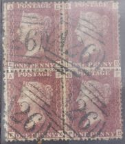 Gibraltar GB used in 1d ruse red plate 142 aFU block of 4 with A26 cancel scarce