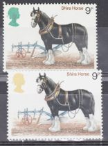 GB 1978 9p shire horse SG 1063 gold has dry printed leaving Queens head green, UN/M with normal