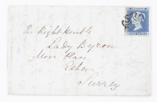 GB entire bearing 1841 2d blue addressed to Lady Byron widow of Lord Byron at Esher