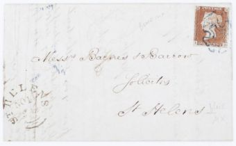 GB 1d red brown imperf on cover to St Helens blue Mix Cancellation
