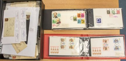 A box file containing mainly GB 1d red covers, a wide variety inc Bishop marks, MX Irish duplex