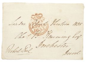 Large piece with free stamp for April 1833 stated to be Sir Robert Peels stamp