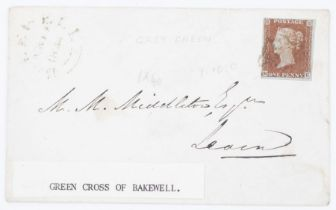 GB SG 7 1841 1d on cover with Bakewell cancel and MX grey green tying adhesive