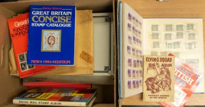 Medium size box with mainly GB ranges of more common types, catalogues etc