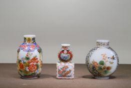 THREE GLASS PAINTING ENAMEL SNUFF BOTTLES