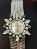 VINTAGE WHITE GOLD OMEGA COCKTAIL WATCH SET WITH DIAMONDS & EMERALD