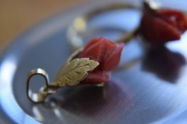 18k Gold Coral Ring & Pendant (Ring Size M 1/2)