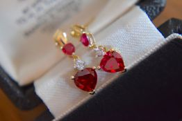 9ct Yellow Gold Ruby & Diamond Drop Earrings (Heart Shaped & Pear Shaped Rubies)