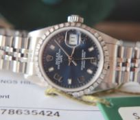Rolex Datejust 26' Ref. 69240 - Blue Dial/ Jubilee Model - *Original Set & Certificate*