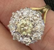 18k Gold & Diamond Ring Approx 1.3ct Total - Appears Fancy Yellow Centre Stone (Size: N)