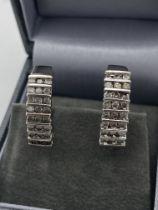 PLATINUM OVER SILVER 925 1.00ct DIAMOND EARRINGS