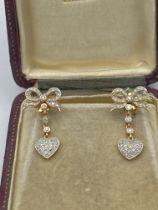 FINE 18ct GOLD DIAMOND HEART DAY & NIGHT DROP EARRINGS