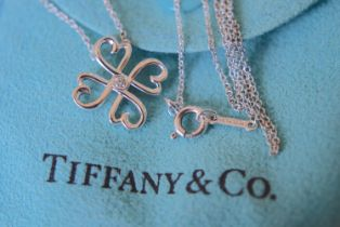 """Tiffany & Co. Sterling Silver Paloma Picasso Diamond """"""""Loving Heart (Clover)"""""""" Necklace"""