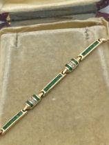 ART DECO STYLE 9ct GOLD EMERALD & DIAMOND BRACELET