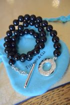 """Tiffany & Co. Sterling Silver & Onyx Beaded Necklace (17.75"""""""" / 8mm Beads)"""