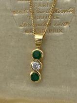 18ct GOLD EMERALD & DIAMOND PENDANT & CHAIN