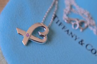 """Tiffany & Co. Sterling Silver Paloma Picasso """"""""Loving Heart"""""""" PINK SAPPHIRE Necklace with 16"""""""" chain"""