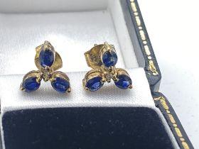 14ct GOLD CEYLON SAPPHIRE & DIAMOND EARRINGS