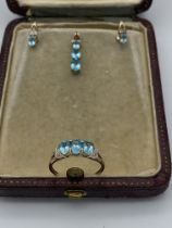 9ct gold Apatite and Diamond Ring with Pendant & Earrings
