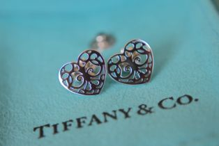 """Tiffany & Co. Sterling Silver """"""""Enchanted Heart"""""""" Stud Earrings"""