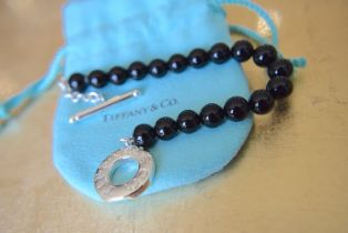 "Tiffany & Co. Sterling Silver & Onyx Beaded Bracelet (7.75"""" / 8mm Beads)"