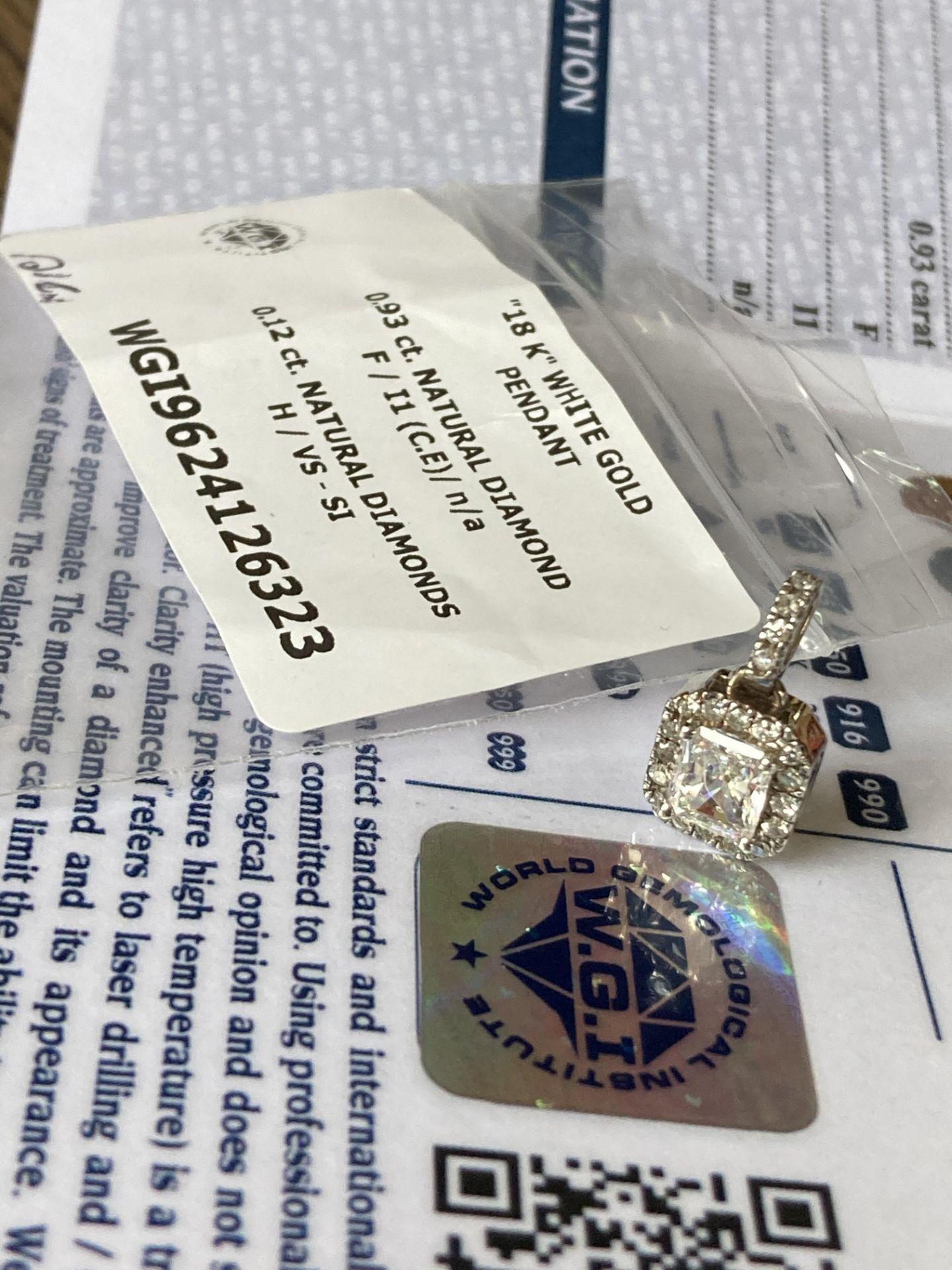 1.05CT DIAMOND PENDANT - 18K WHITE GOLD (WGI CERTIFICATE) - Image 5 of 5
