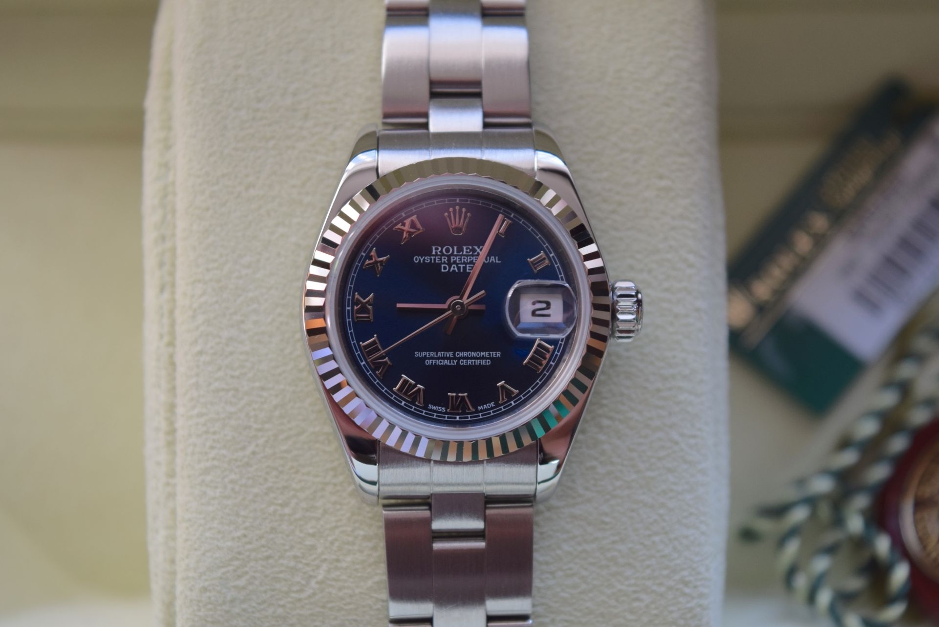 *FULL SET* ROLEX DATEJUST (LADIES) STEEL & 18CT WHITE GOLD - NAVY BLUE 'ROMAN NUMERAL' DIAL - Image 7 of 19