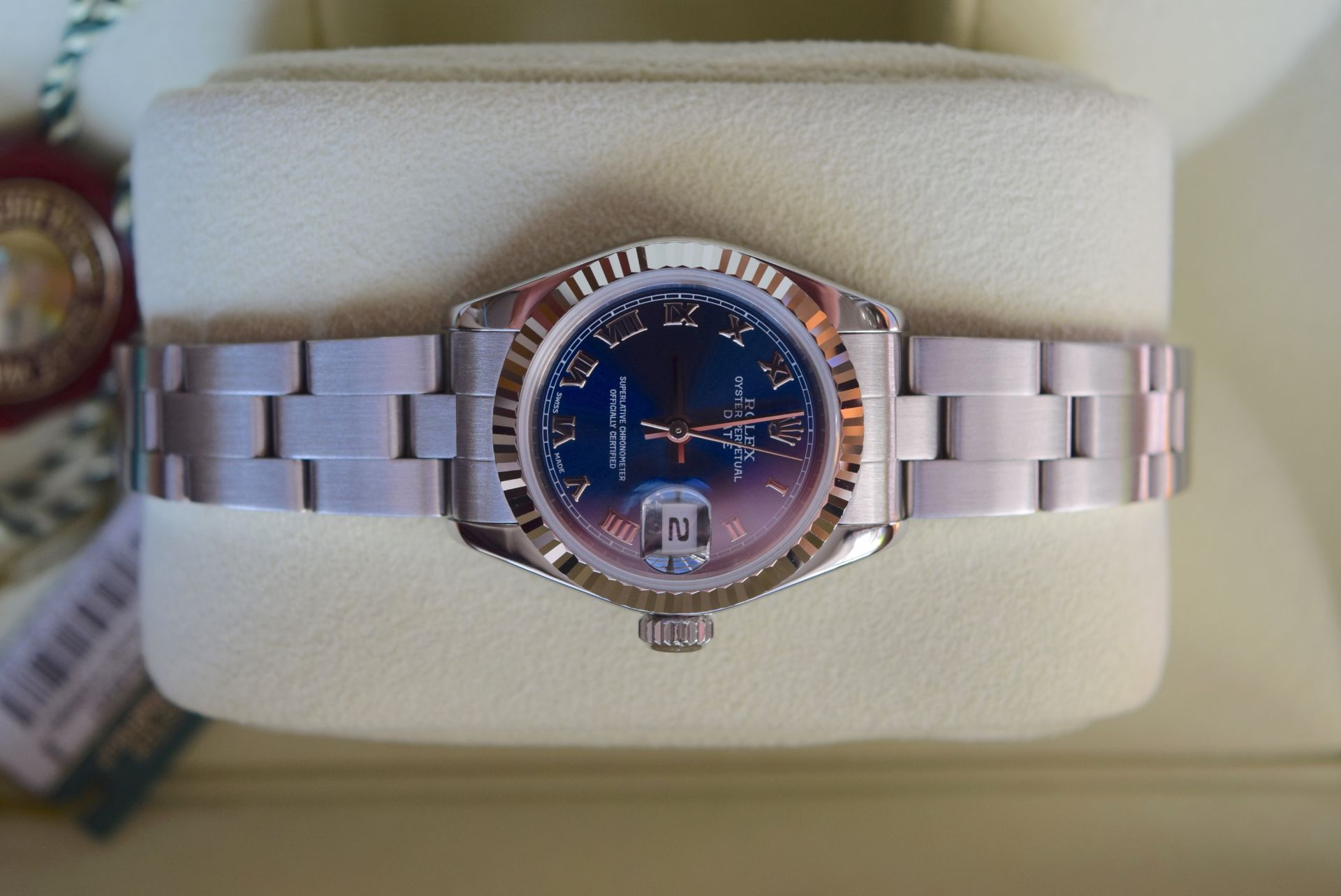 *FULL SET* ROLEX DATEJUST (LADIES) STEEL & 18CT WHITE GOLD - NAVY BLUE 'ROMAN NUMERAL' DIAL - Image 5 of 19