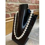PEARL NECKLACE WITH 9K WHITE GOLD DECORATIVE CLASP