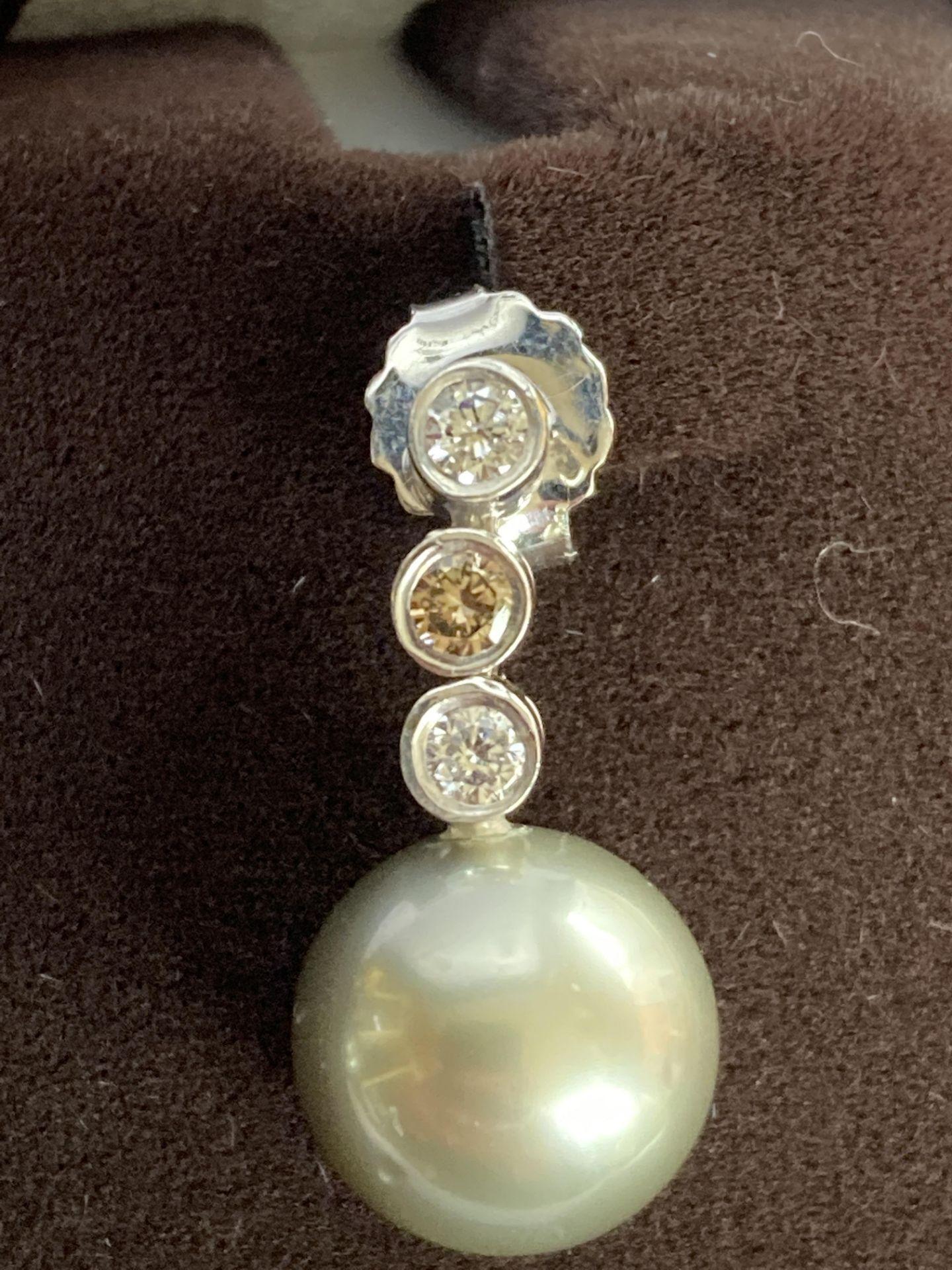 SOUTHSEA PEARL AND DIAMOND 18K EARRINGS - 0.3CT - Image 2 of 3