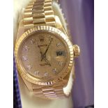 18CT GOLD LADIES ROLEX WITH DIAMOND DIAL WITH RECEIPT