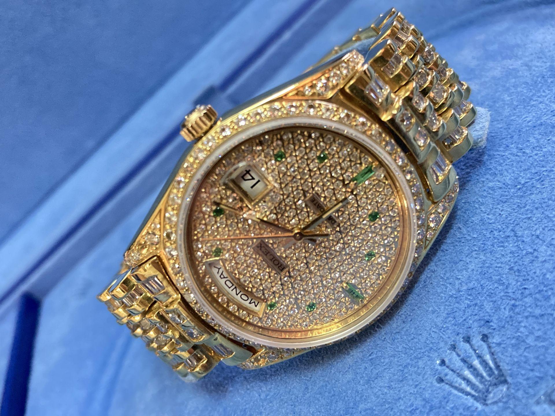 GENTS 36mm ROLEX DAYDATE YELLOW GOLD DIAMOND WATCH - Image 4 of 21