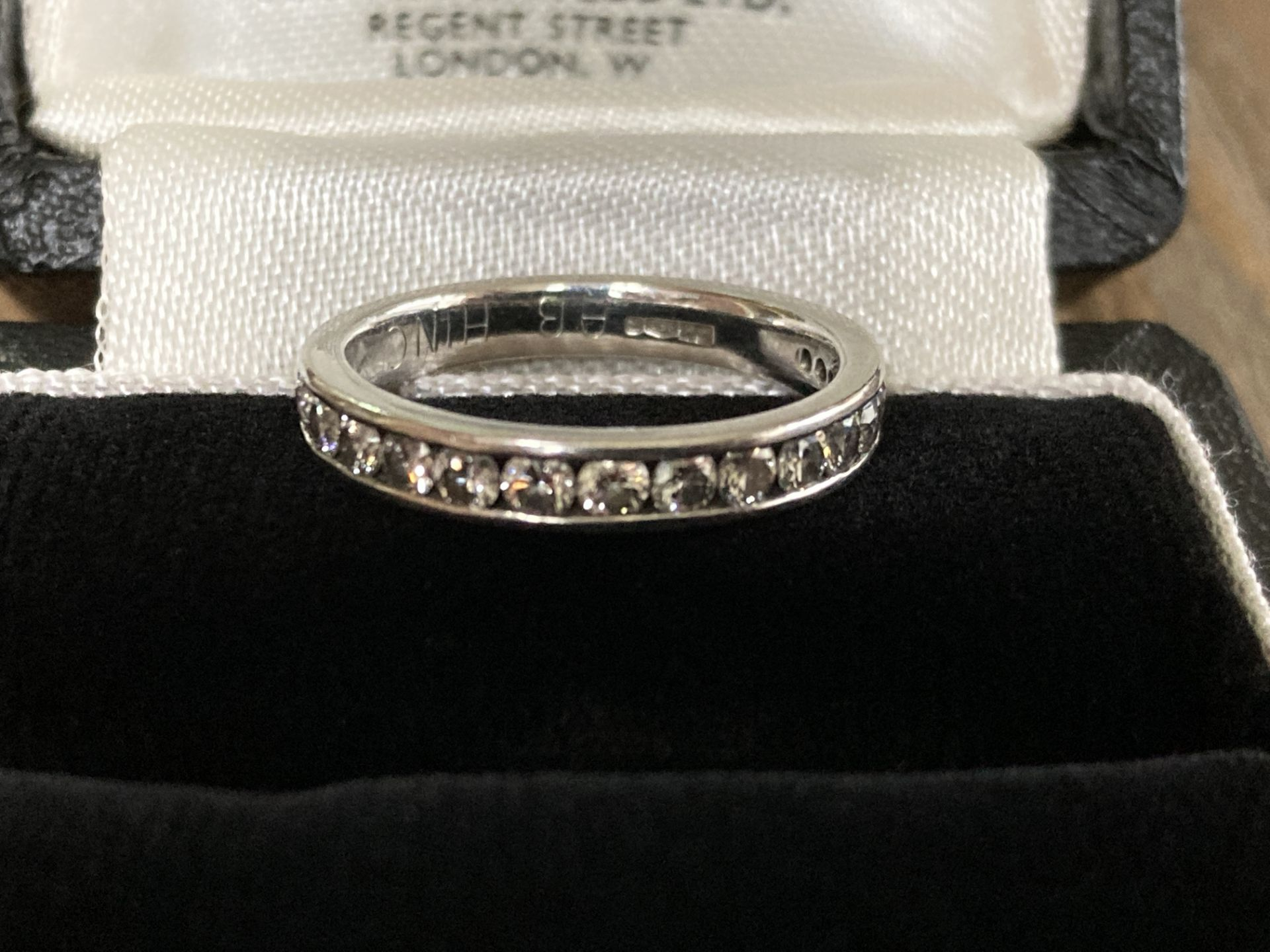 PLATINUM 0.57CT DIAMOND HALF ETERNITY RING (CHANNEL SET) - SIZE: J / WEIGHT: 3.9G