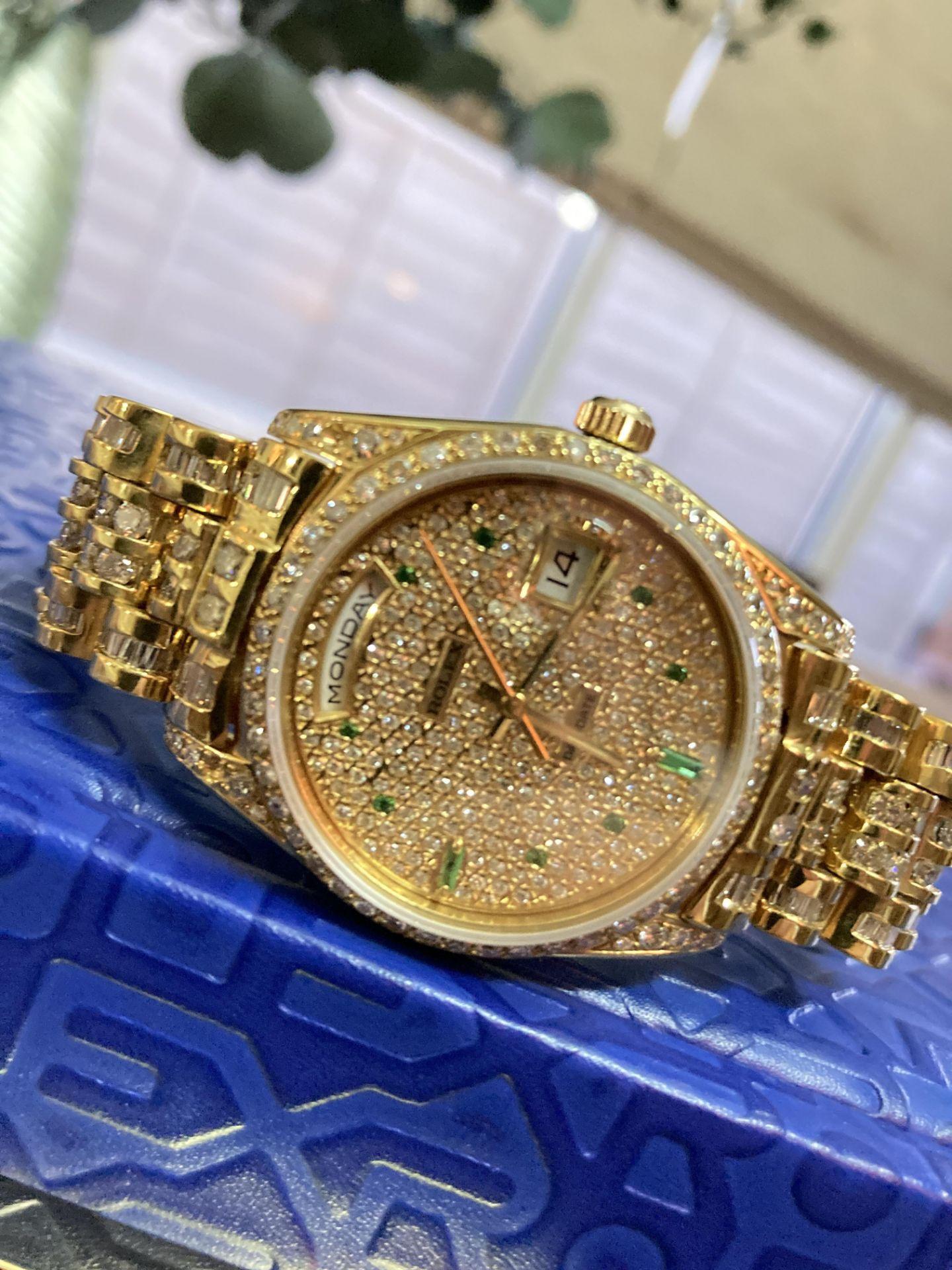 GENTS 36mm ROLEX DAYDATE YELLOW GOLD DIAMOND WATCH - Image 20 of 21
