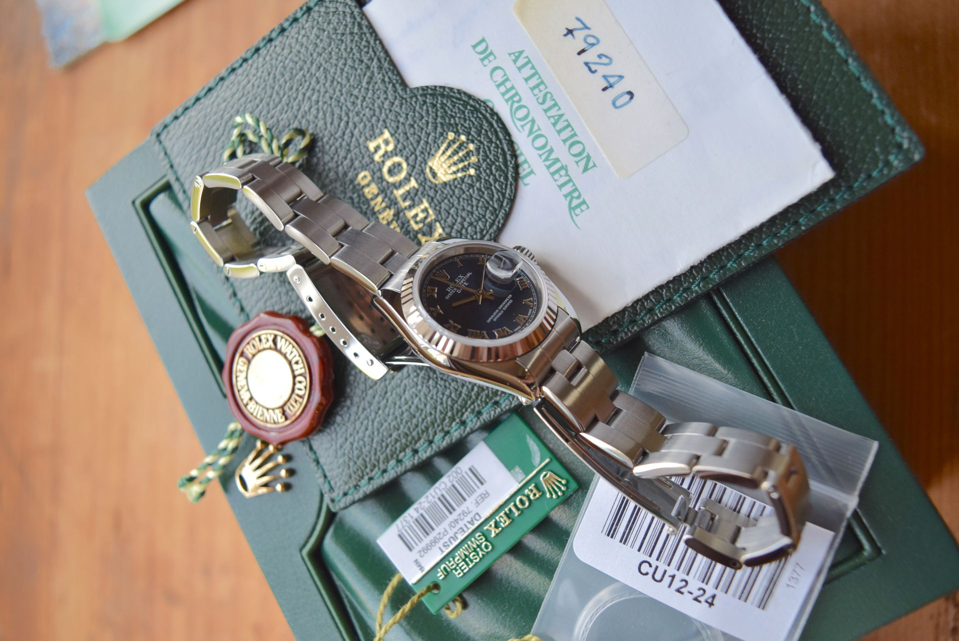 *FULL SET* ROLEX DATEJUST (LADIES) STEEL & 18CT WHITE GOLD - NAVY BLUE 'ROMAN NUMERAL' DIAL - Image 15 of 19