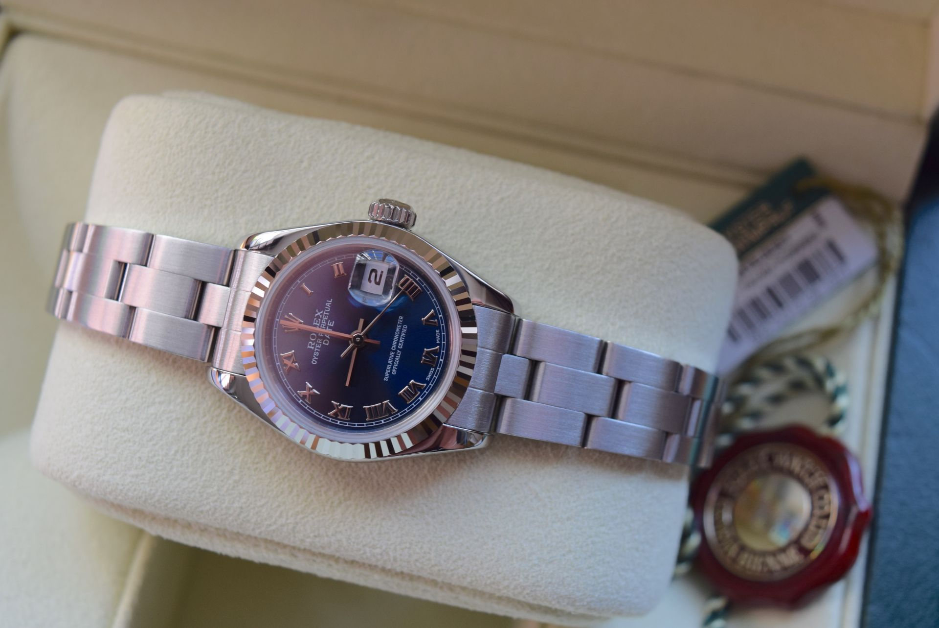 *FULL SET* ROLEX DATEJUST (LADIES) STEEL & 18CT WHITE GOLD - NAVY BLUE 'ROMAN NUMERAL' DIAL