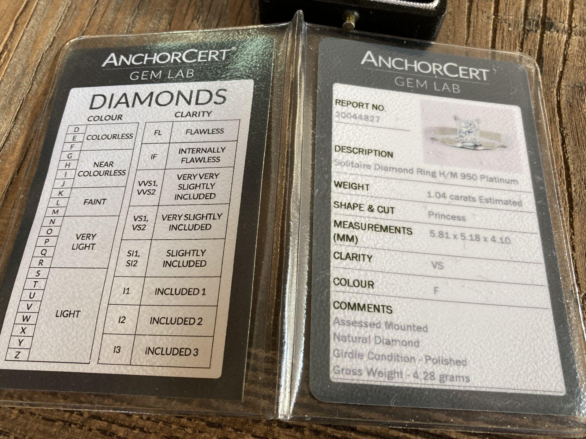 1.04CT (VS/F) PLATINUM PRINCESS CUT DIAMOND SOLITAIRE RING (CERTIFICATED) - Image 3 of 10