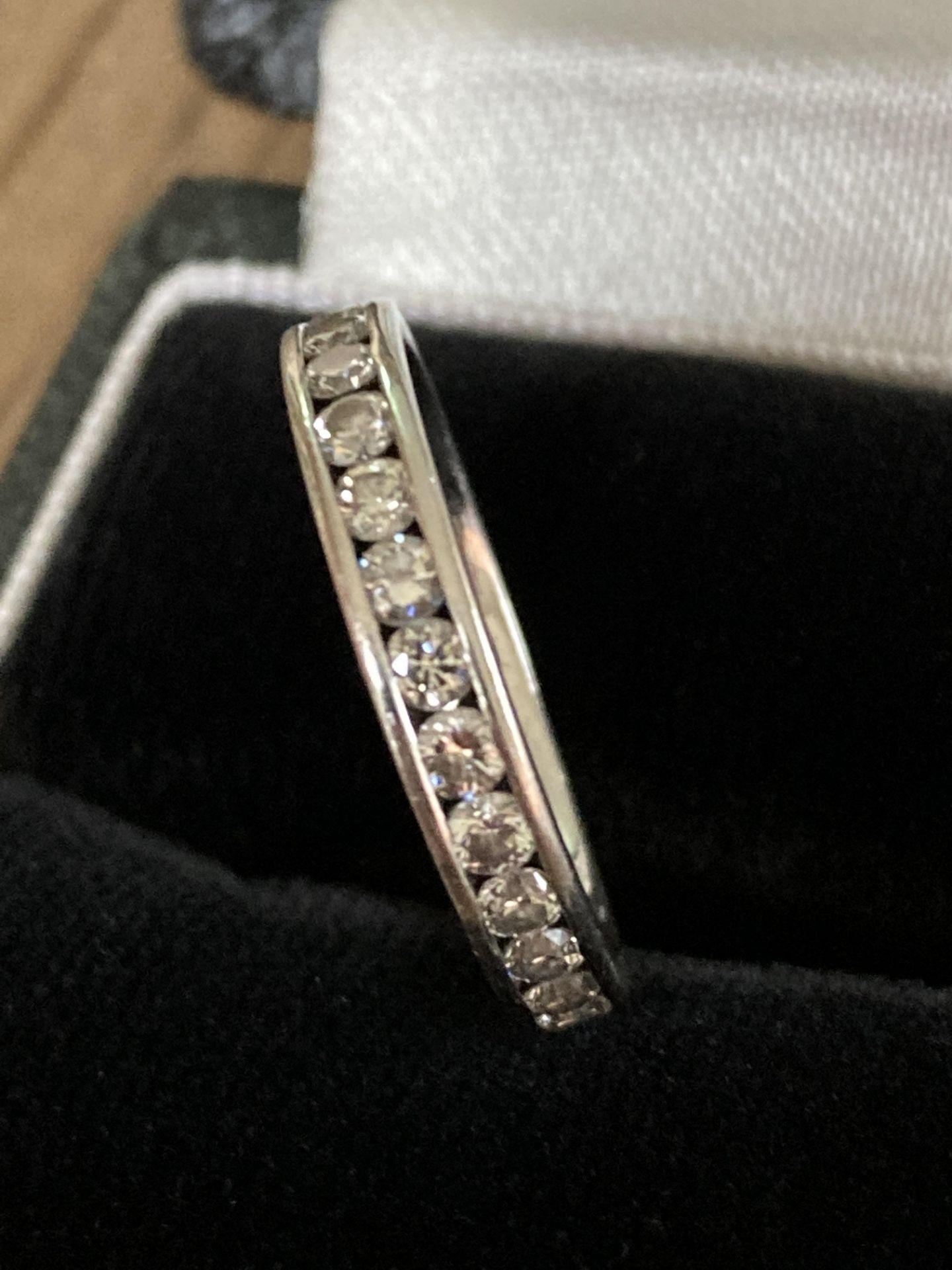 PLATINUM 0.57CT DIAMOND HALF ETERNITY RING (CHANNEL SET) - SIZE: J / WEIGHT: 3.9G - Image 2 of 2