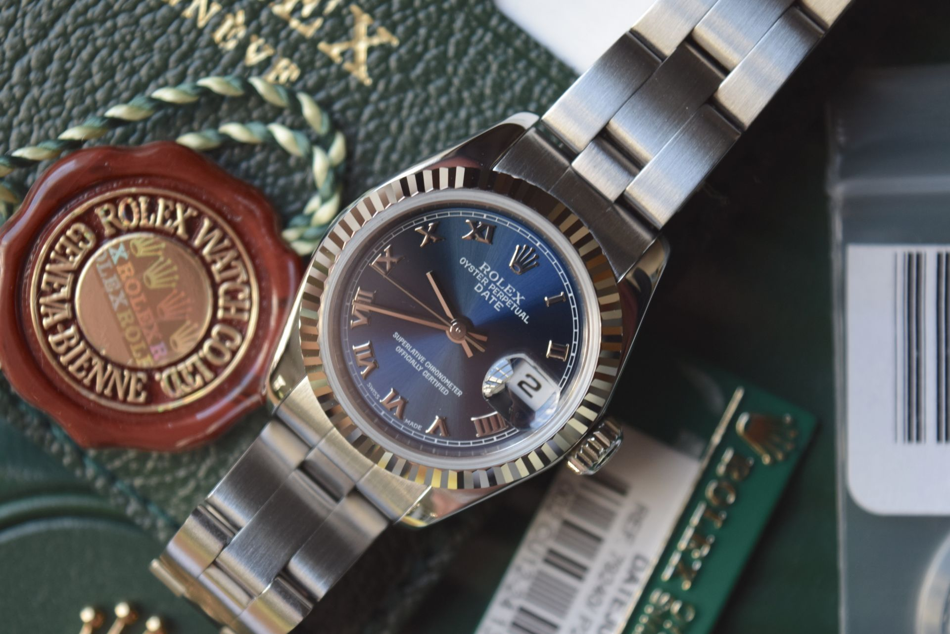 *FULL SET* ROLEX DATEJUST (LADIES) STEEL & 18CT WHITE GOLD - NAVY BLUE 'ROMAN NUMERAL' DIAL - Image 10 of 19