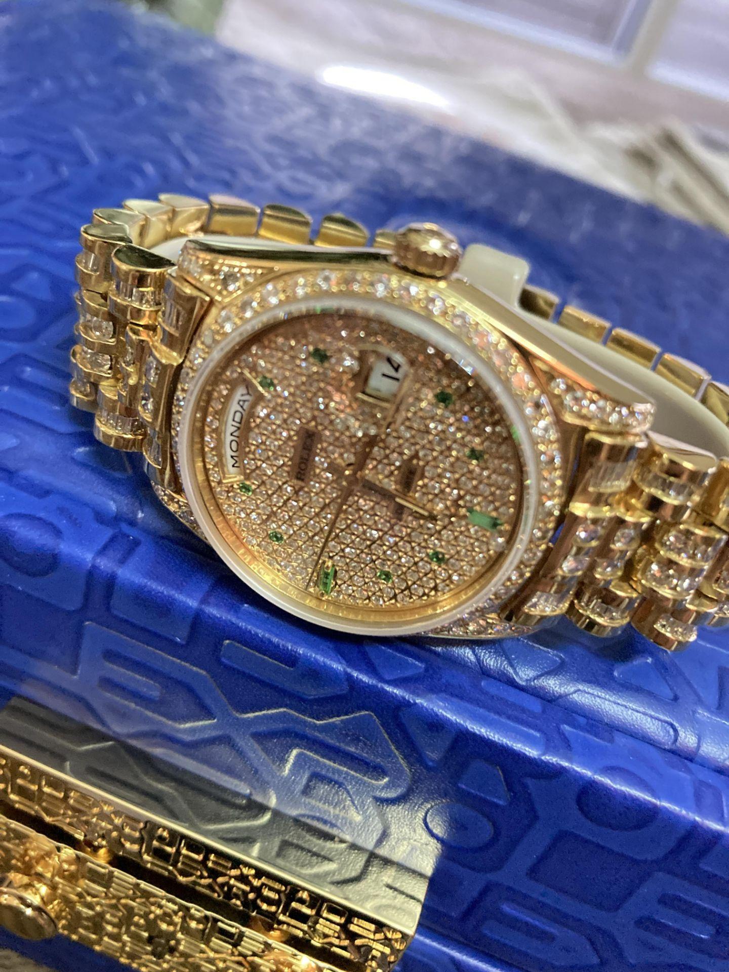 GENTS 36mm ROLEX DAYDATE YELLOW GOLD DIAMOND WATCH