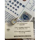 2.14CT DIAMOND PENDANT - 14K WHITE GOLD (WGI CERTIFICATE)