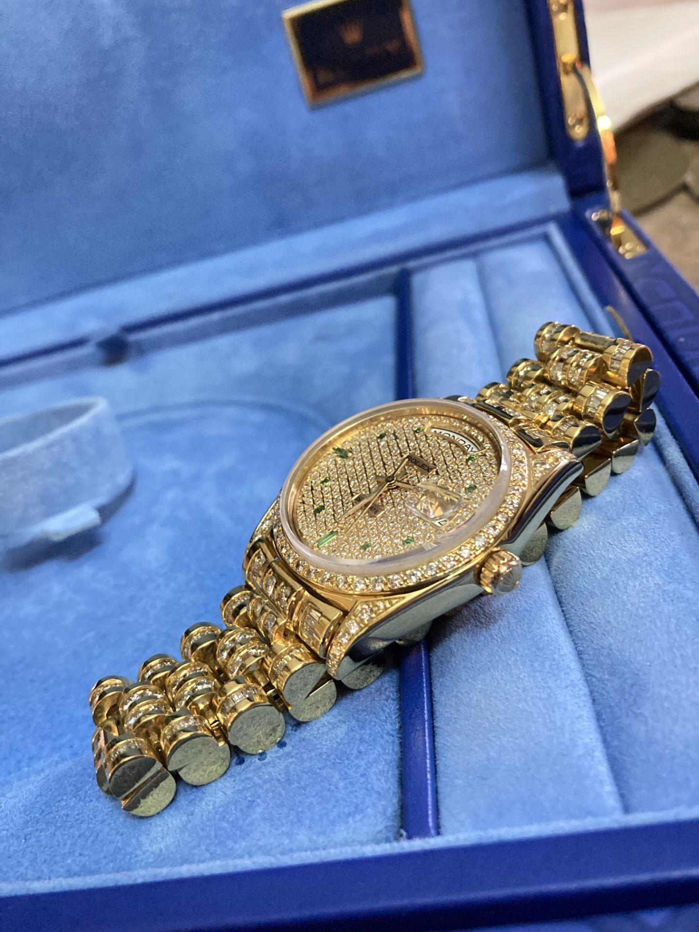 GENTS 36mm ROLEX DAYDATE YELLOW GOLD DIAMOND WATCH - Image 13 of 21
