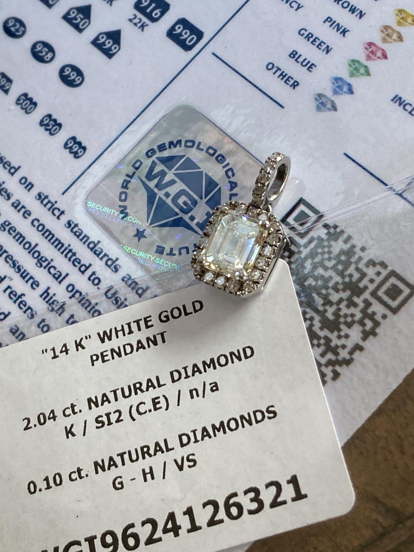 2.14CT DIAMOND PENDANT - 14K WHITE GOLD (WGI CERTIFICATE) - Image 4 of 4